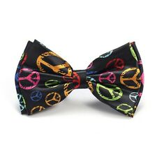 Unisex Gay Rainbow Colour Peace Sign Novelty Fancy Dress Bow Tie - Brand New