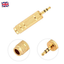 Jack 3.5mm Male to 6.35mm Female Audio Stereo Plug Socket Cable Adapter Gold