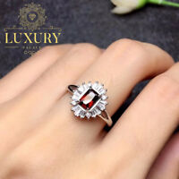 Natural Red Garnet Gemstone Solid 925 Sterling Silver Romantic Rings for Women