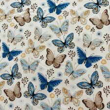 Ivory Butterfly Print 100% Cotton Fabric Fat Quarter Half Meter or One Meter UK