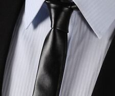 LET2 black Synthetic Leather Tie Casual Fashion Skinny Slim Solid Men Necktie