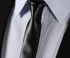 LET2 black Synthetic Leather Tie Casual Fashion Skinny Slim Solid Men Necktie