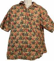 Vintage Tsunami Button Down Shirt Short Sleeve Multi Colored Aztec Size L Cotton