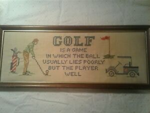 "Vintage Hand Embroidered Golf Picture 1950's Great Shape 20"" X 8"" Free shipping"