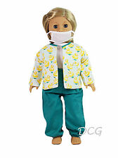 "AFW GREEN DUCK NURSE SCRUBS for 18"" Dolls American Girls Doctor Outfit NEW"