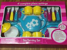 Childrens Kids Tea Serving Set 4 Complete Place Settings Durable Plastic 29 pcs