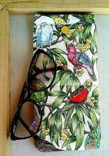 Australian Parrots Sunglasses Case handmade soft padded glasses case snap close