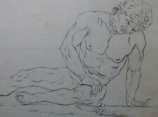 4 Antique Drawings Ancient Statue Study Dying Gaul Laid Paper Watermarked