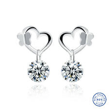 925 Sterling Silver earring CZ Cubic Zirconia clear crystal DLE06
