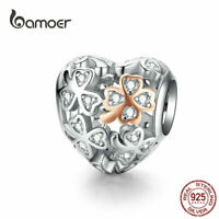 BAMOER Women DIY European Charm S925 Sterling Silver Heart Flower Fit Bracelet