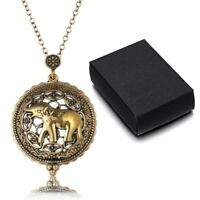 Magnifying Glass Elephant Pendant Necklace Long Sweater Chain+ Box Charm Jewelry