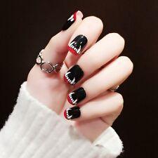 Black Short False Nails Acrylic Nail Art Tips Sharp Teeth Halloween Style Z381