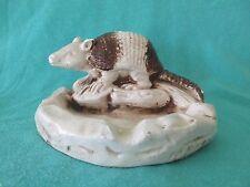 Vtg Armadillo Animal Ashtray Plaster Chalkware Mexico Brown White Southwestern