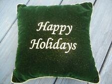 """Small Accent Pillow """"Happy Holidays � in Dark Christmas Green & Gold Trim"""