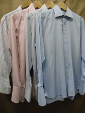 Lot of 4 Thomas Pink Mens Sz 15-15.5 x 33-34 Button Front Shirts and Size M