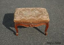 Antique French Country Brown Floral Needlepoint Footstool