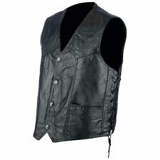 Gilet Jacket en cuir patchwork + Lacet  Taille L - Bikers Country