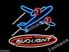 Bud Light War Plane Airplane Pilot Beer Bar Pub Real Neon Light Sign FREE SHIP