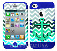 KoolKase Hybrid Silicone Cover Case for Apple iPhone 4 4S - Chevron Anchor 28