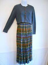 KARIN STEVENS Cropped Jacket DRESS Smoky Blue Knit Top Maxi Skirt Size 4 Petite