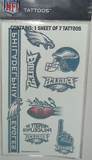 NFL PHILADELPHIA EAGLES TEMPORARY TATTOOS 1 SHEET 7 TATTOOS FAST FREE SHIPPING