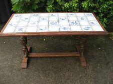 Oak Table for hall, side,conservatory,bathroom, delft style tiles,