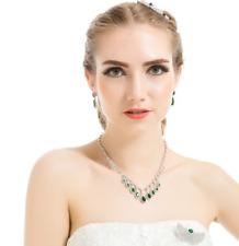 Cubic Zirconia Crystal Teardrop Necklace & Earrings Jewellery Set - Emerald