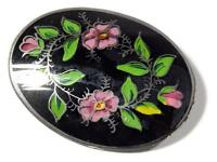 Antique Czech Victorian reverse hand painted pink flower glass pin brooch