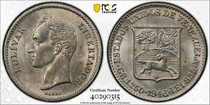 Venezuela 1946 1/4 Bolivar Horse animal PCGS MS62 key date PC1123 combine shippi