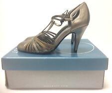NIB NINE WEST ROADAWAY Size 6 M Tri-Color Leather Gold T-Strap  High Heel
