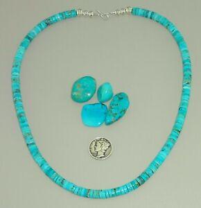 "KINGMAN Turquoise HEISHI 18.5"" BEAUTIFUL BLUE NECKLACE NAVAJO PEARL"