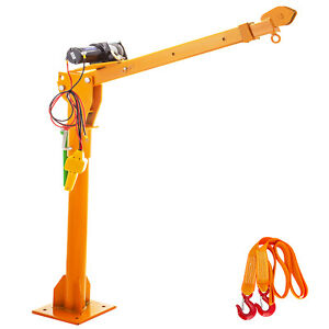 500KG Crane Swivel Electric Winch 12V Moving Chassis Heavy Loads Lifting Steel
