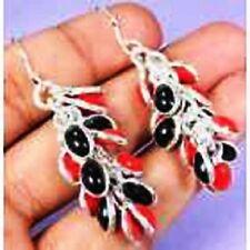 funky Red Coral/black & 925 Silver Handmade Unusual drop Earrings 57mm G76-32551