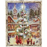 LED Lighted Christmastime Window Canvas by Holiday Peak, Nostalgic Christmas