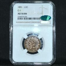 1851 BRAIDED HAIR HALF CENT ✪ NGC AU-58-BN CAC ✪ 1/2C C-1 ALMOST UNC ◢TRUSTED◣