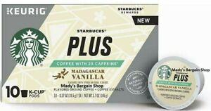 60 Starbucks Plus Madagascar Vanilla Coffee 2X Caffeine 10x6=60 K-Cup Total