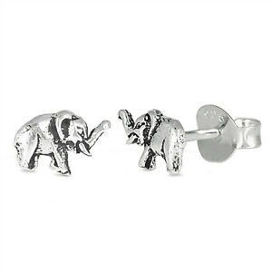 Elephant Earrings 925 Sterling Silver 5mm Casual Fashion Studs Push Back