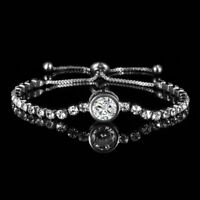 Round Cubic Zircon Bracelet Women Adjustable Bangle Wedding Jewelry Gift Party