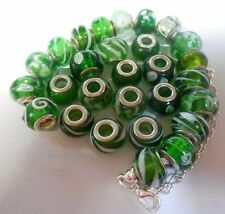 Green Murano Glass Lampwork  Beads Fit european Charm Bracelet big hole bead x 2