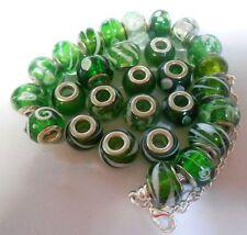 Green Murano Glass Lampwork  Beads Fit european Charm Bracelet big hole bead x 2