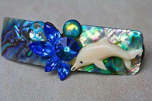 Vtg 80's Wendy Gell Dolphin Abalone Hair Barrette Swarovski Crystal Rivoli
