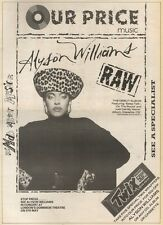 25/3/89Pgn18 Advert: Alyson Williams Debut Album 'raw' In Our Price 15x11 FRAMED