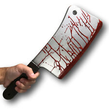 PU BLOODY MEAT CLEAVER REALISTIC HANDHELD BUTCHER'S KNIFE MOVIE PROP HALLOWEEN