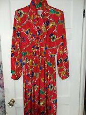 Vintage VICTORIA MORGAN Red Button Pleated Tie Collar Women's Dress 1Sz. 14 USA