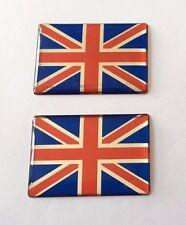 2 x 30 mm Bandiera Union Jack Adesivo/Adesivo-Rosso-Cromo-Blu - Alta Lucentezza a CUPOLA Gel