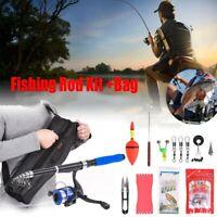Telescopic 2.1M Fishing Rod Reel Combo Full Kit Spinning Fishing Reel Pole + Bag