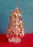 Hand Blown Glass Christmas Tree Ornament with Hand Painted Garland and Ornaments