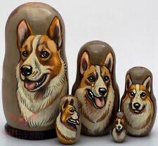 Russian Matryoshka Cardigan Welsh Corgi Dog Wooden nesting dolls toy 5pcs
