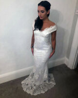 Quiz Ladies white lace fishtail bridal ballgown Evening dress Womens RRP £120 ❤