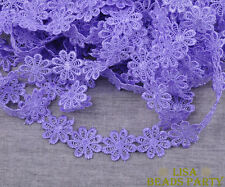 5 Yards Purple Lace Flower Embroidered Charm Fabric Sewing Applique Trim